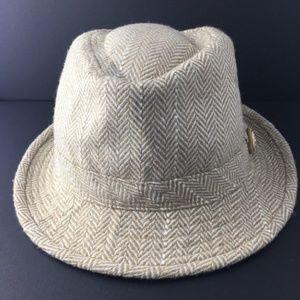 Chanel 100% Wool Herringbone Fedora Hat